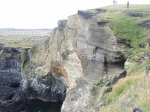 Erosionsbrant på halvön Snæfellsnes på västra Island.